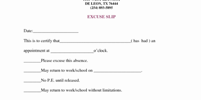 Dr Note Excuse From Work Fresh Doctors Note for Work Absence Free Download Printable