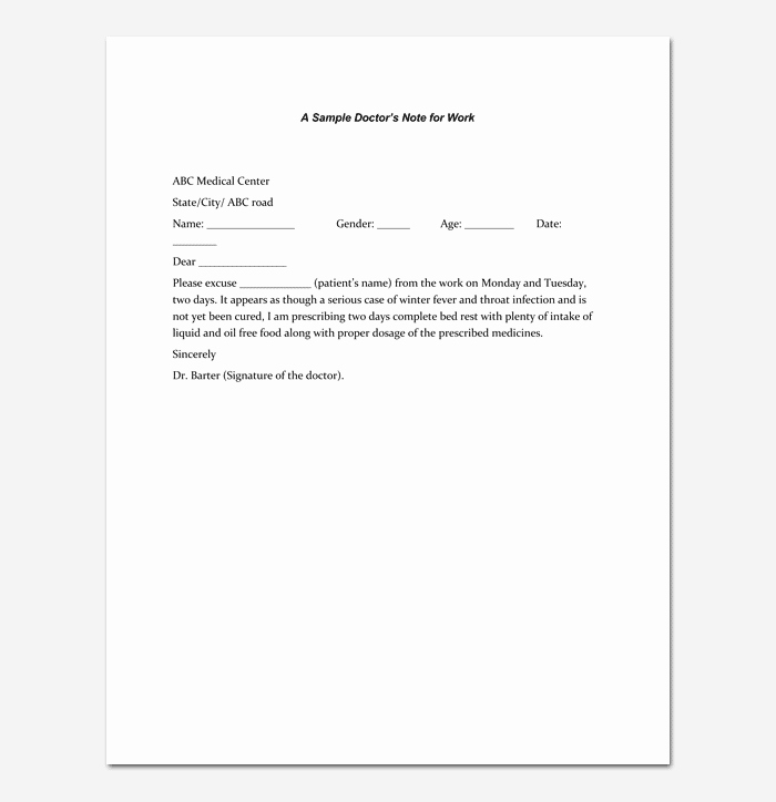 Dr Note Excuse From Work New Doctors Note Template 7 Fillable Notes for Word & Pdf
