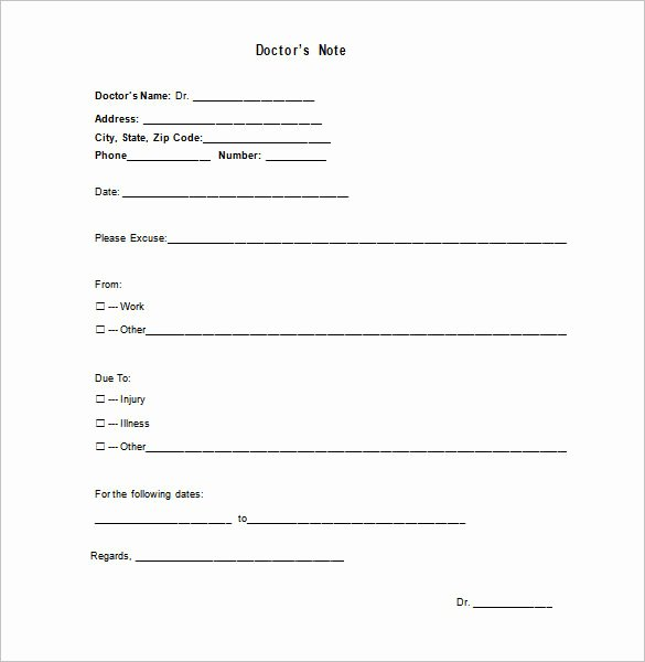 Dr Notes for School Luxury Medical Doctor Note Template 13 Free Sample Example
