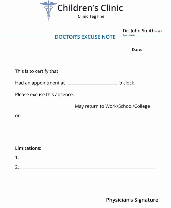 Dr Notes for School Unique 34 Doctors Note Samples – Pdf Word Pages Portable