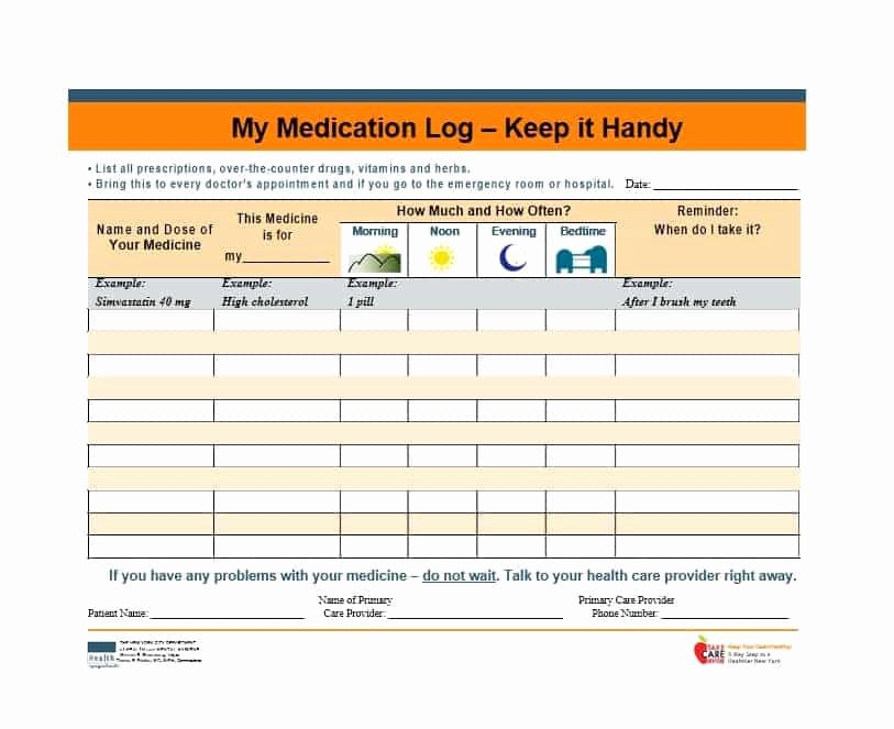 Drug Card Template Microsoft Word Inspirational 58 Medication List Templates for Any Patient [word Excel