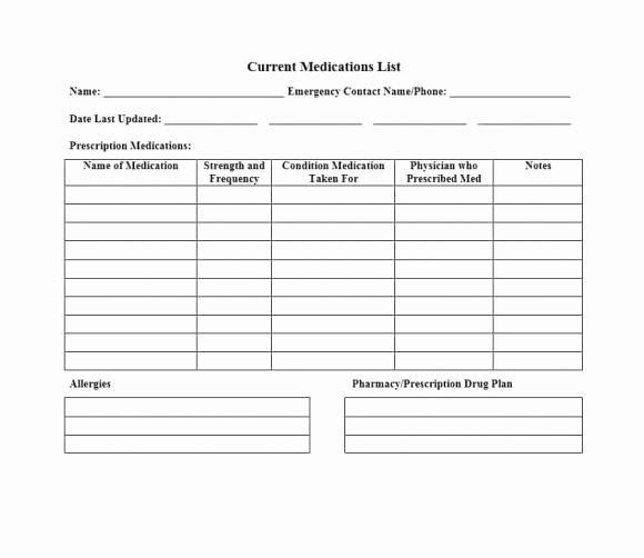 Drug Card Template Microsoft Word Luxury Medication List Template