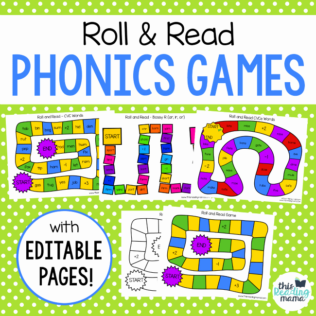 Editable Board Game Templates Beautiful Roll and Read Phonics Games This Reading Mama