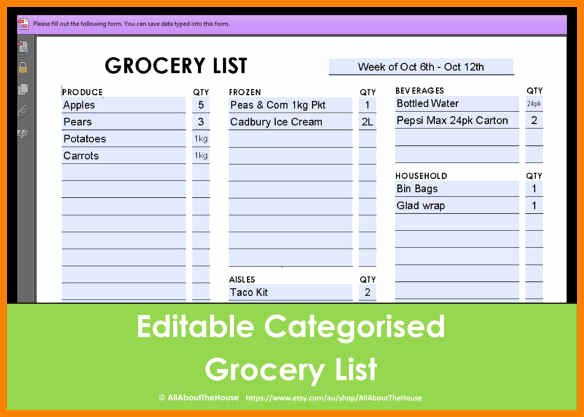 Editable Grocery List Template Beautiful 9 Editable Grocery List Template