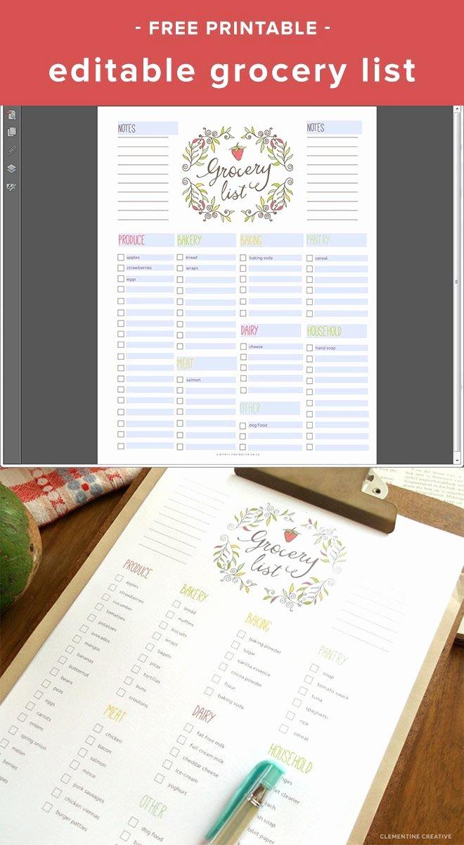 Editable Grocery List Template Elegant Free Editable Grocery List Printable Pdf