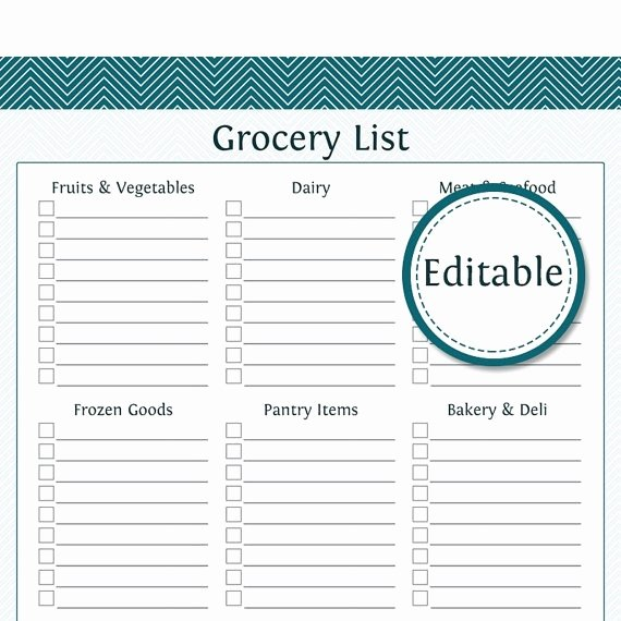 Editable Grocery List Template Inspirational Editable Grocery List Template