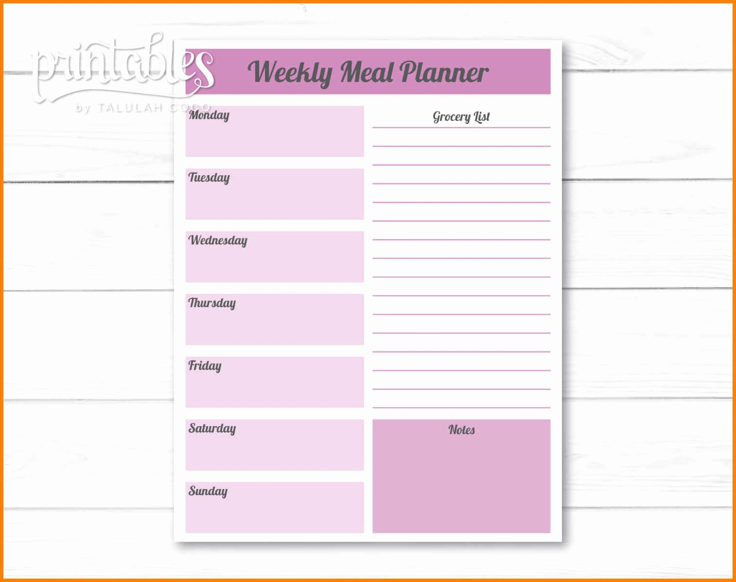 Editable Grocery List Template Lovely 5 Editable Menu Planner Template