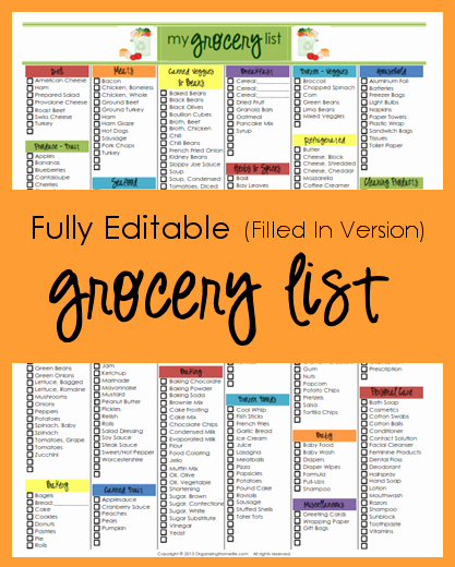 Editable Grocery List Template New Editable Grocery List Filled In Version organizing