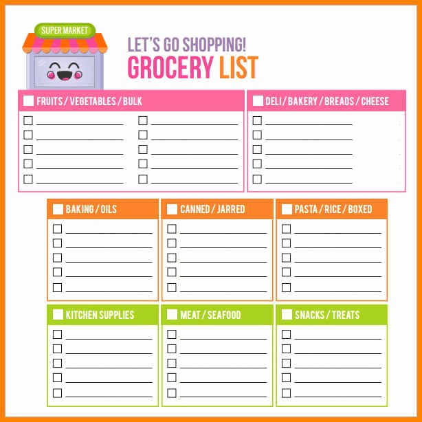 Editable Grocery List Template Unique 9 Editable Grocery List Template