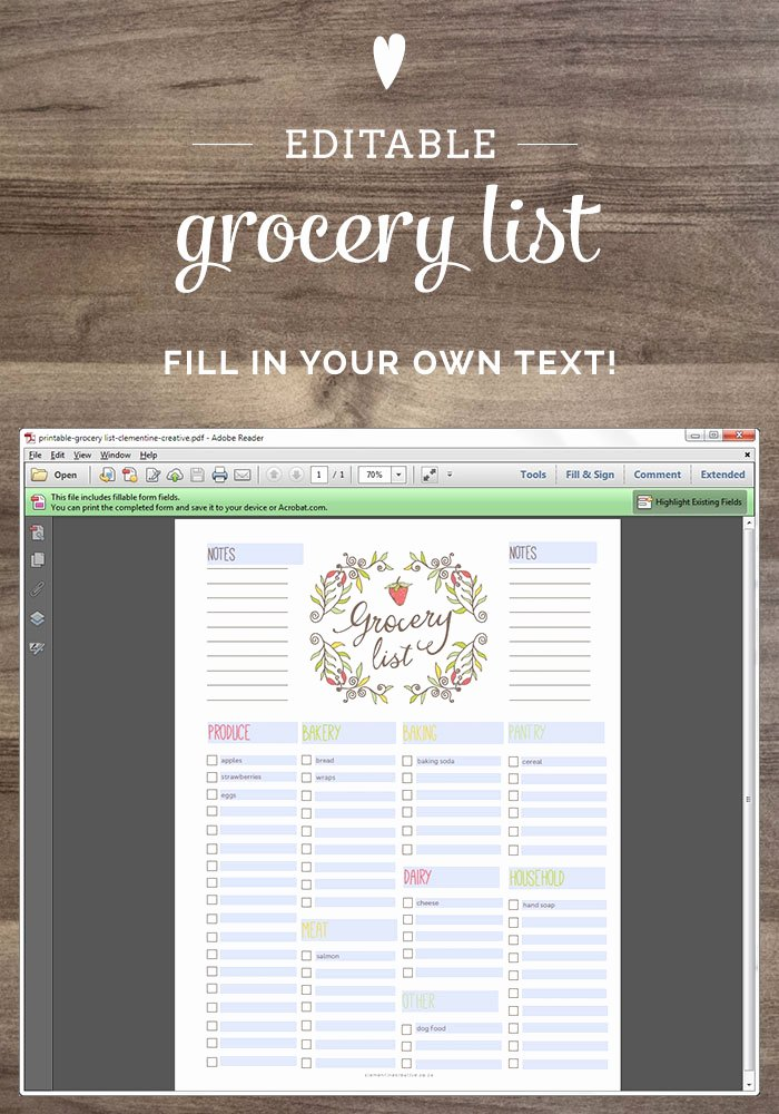 Editable Grocery List Template Unique Free Editable Grocery List Printable Pdf