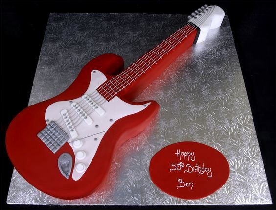 Electric Guitar Birthday Cake Beautiful Shaped Birthday