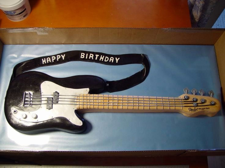 Electric Guitar Birthday Cake Unique Cake Shaped Black Electric Guitar