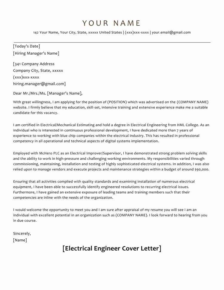 Electrical Engineering Cover Letter Sample Awesome 66 Cover Letter Samples and Correct format to Write It