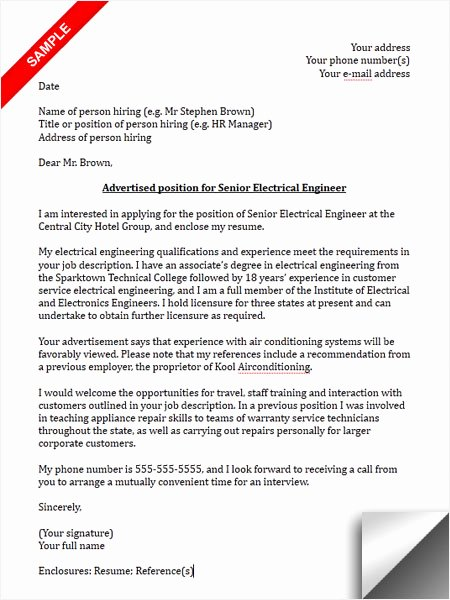 Electrical Engineering Cover Letter Sample Awesome Electrical Engineer Cover Letter Sample