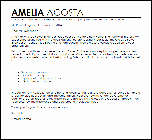 Electrical Engineering Cover Letter Sample Best Of Cover Letter Power Engineering Sample Electrical