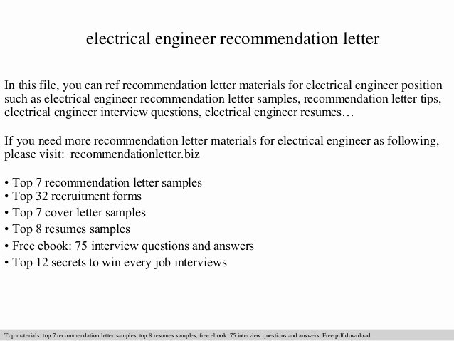 Electrical Engineering Cover Letter Sample Best Of Electrical Engineer Re Mendation Letter
