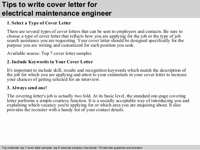 Electrical Engineering Cover Letter Sample Elegant Electrical Maintenance Engineer Cover Letter