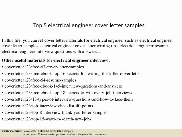 Electrical Engineering Cover Letter Sample Fresh top 5 Electrical Engineer Cover Letter Samples