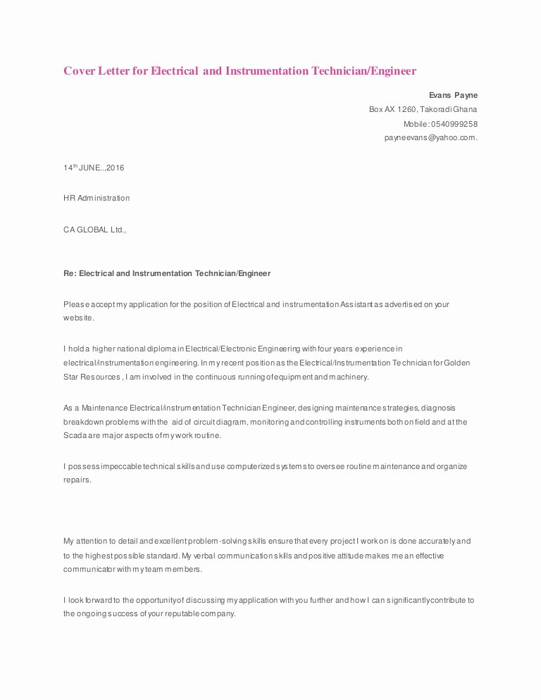 Electrical Engineering Cover Letter Sample Unique Cover Letter for Electrical and Instrumentation Technician