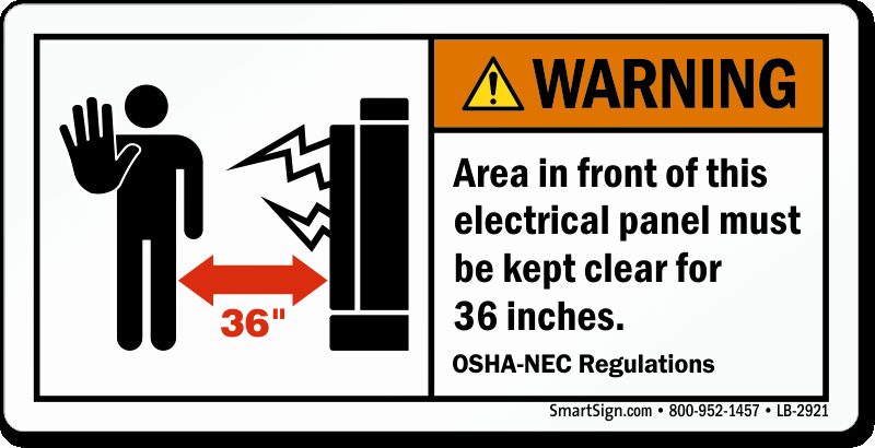 Electrical Panel Labels Inspirational Warning area In Front Electrical Panel Clear 36 Inches