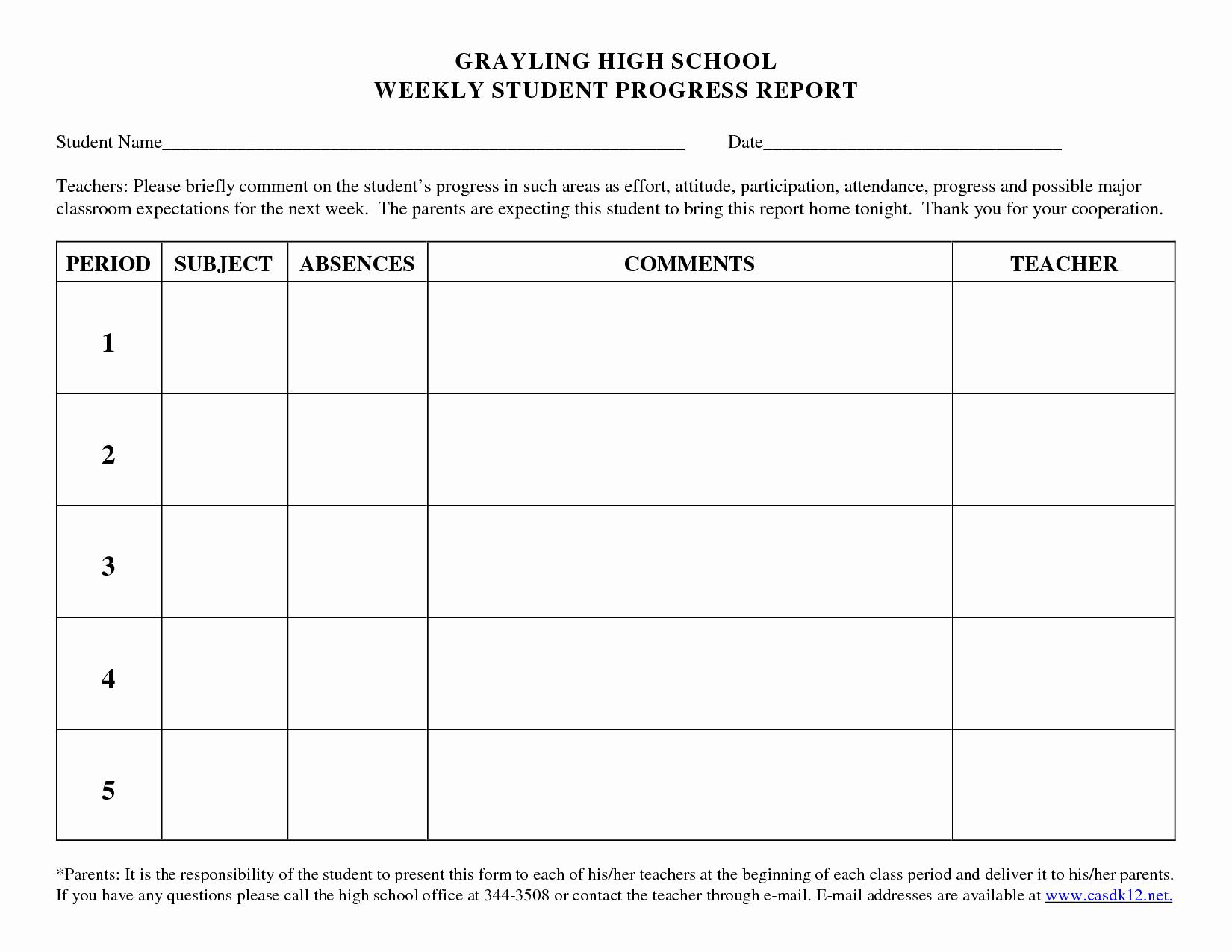 Elementary Progress Report Templates Beautiful Best S Of Student Progress Report Template Pdf