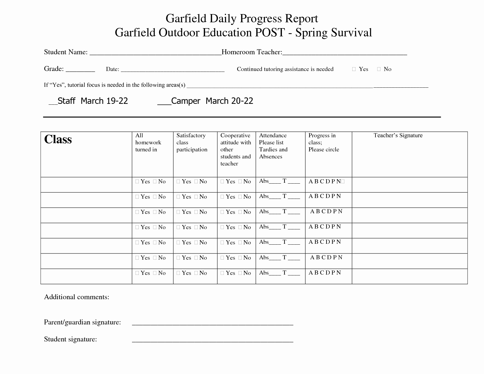 Elementary Progress Report Templates Inspirational Printable Student Progress Report Template