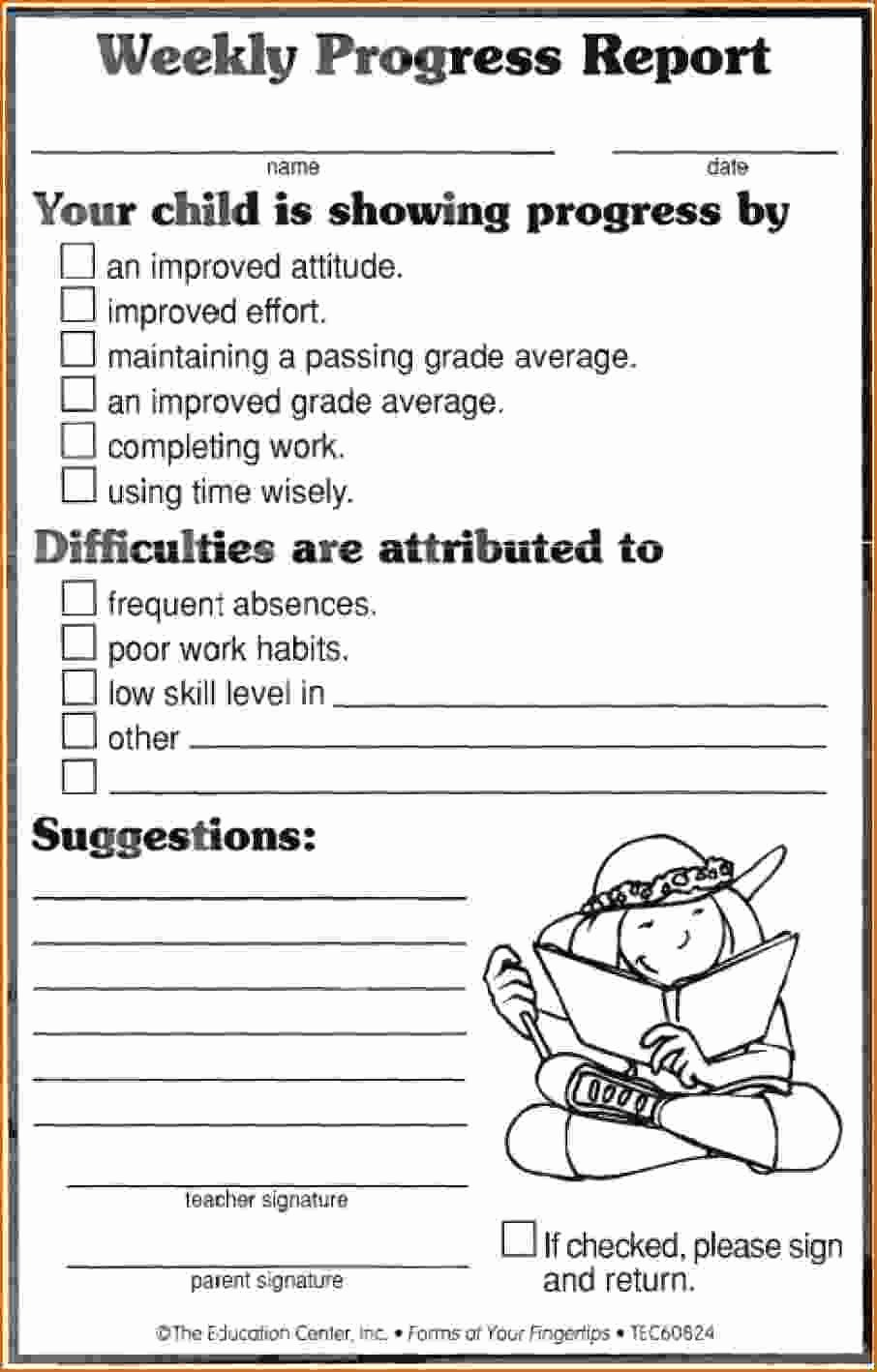 Elementary Progress Reports Template Elegant 12 Weekly Progress Report Template