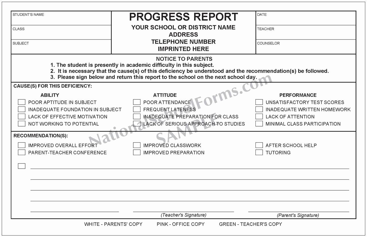 Elementary Progress Reports Template Elegant Progress Report with Parent Signature Line