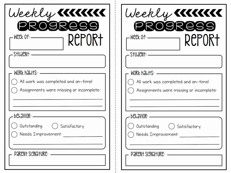 Elementary Progress Reports Template Fresh Create Teach Weekly Progress Report Freebie