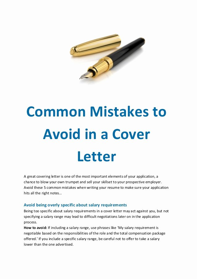 Elements Of A Cover Letter Elegant Mon Mistakes to Avoid In A Cover Letter
