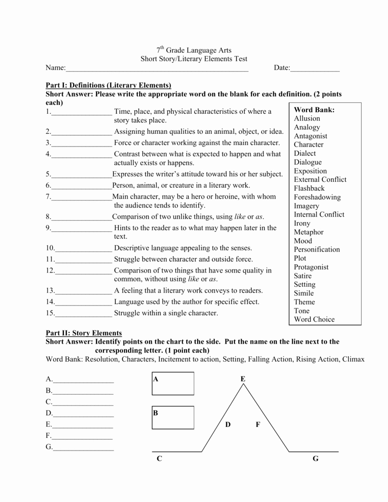 Elements Of Plot Quiz Lovely 7 Grade Language Arts Short Story Literary Elements Test Name