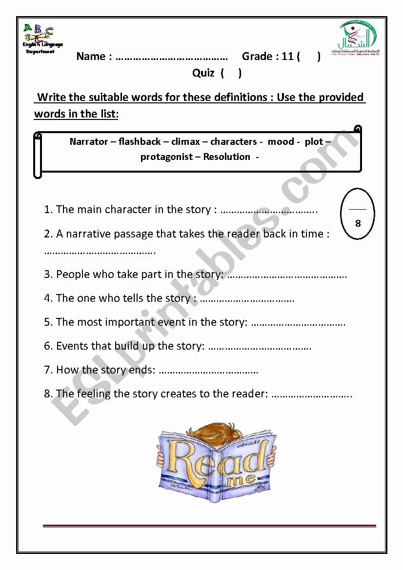Elements Of Plot Quiz Lovely Narrative Elements Quiz Esl Worksheet by Hanaa Mohammed