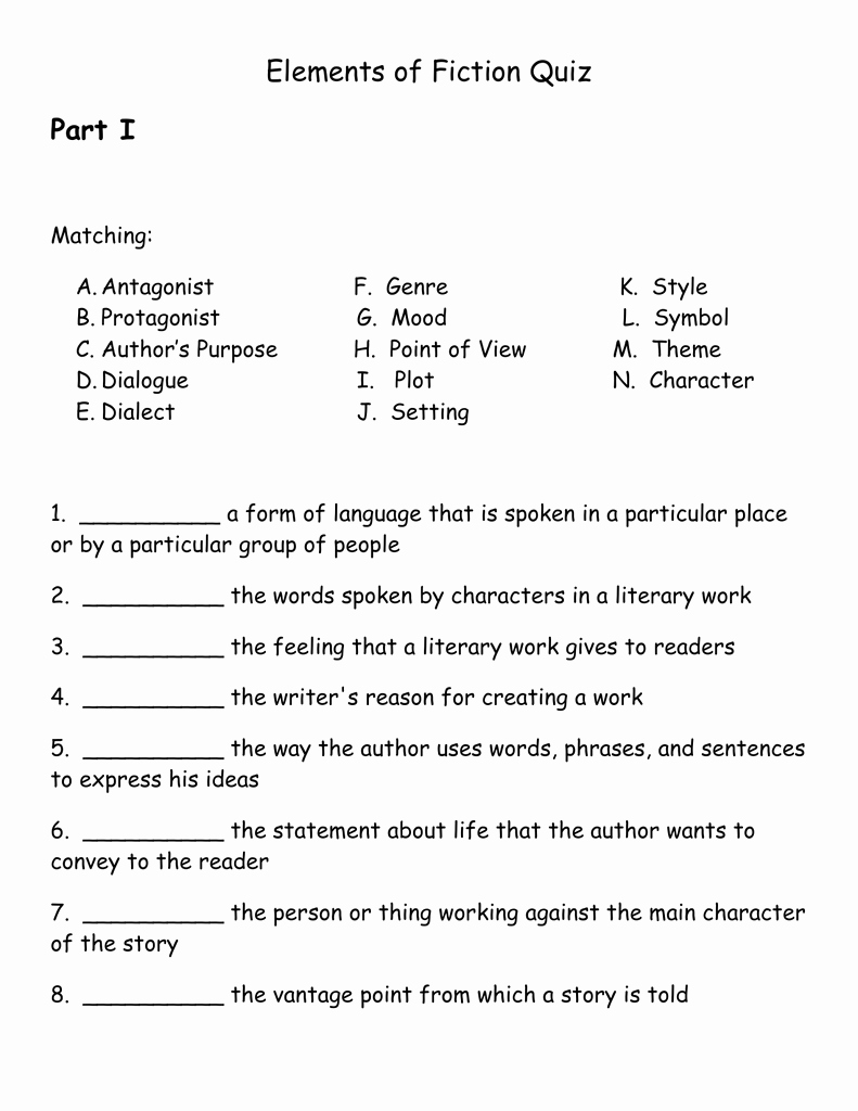 Elements Of Plot Quiz Luxury Elements Of Fiction Quizc