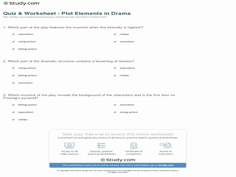 Elements Of Plot Quiz New Elements Fiction Worksheet Free Printable Worksheets