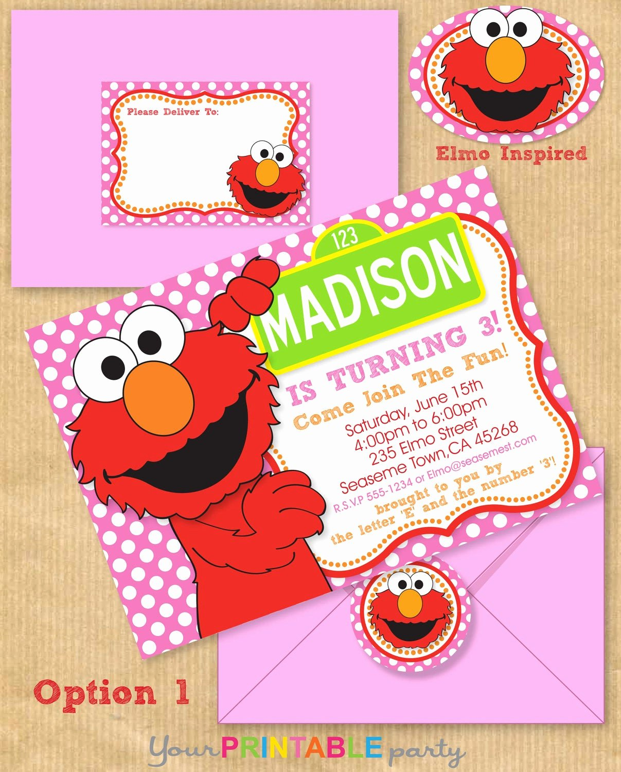 Elmo Birthday Invitation Templates Free Awesome Girls Elmo Party Invitation 5x7 with Address by