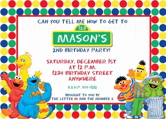 Elmo Birthday Invitation Templates Free Beautiful Sesame Street Birthday Invitation Elmo Birthday Invitation