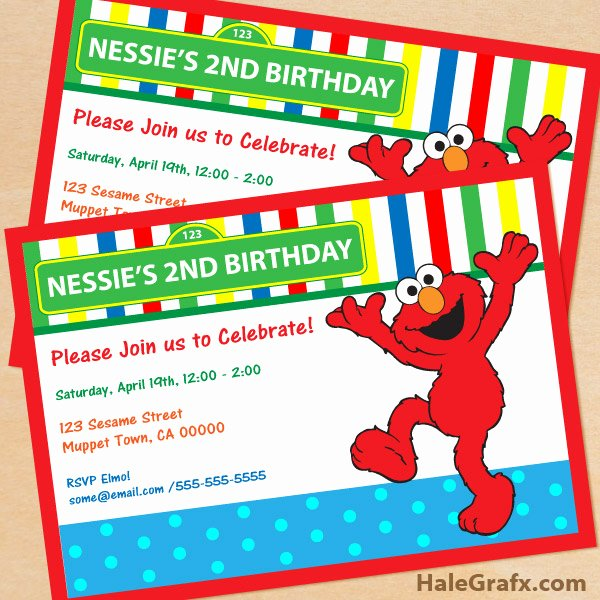 Elmo Birthday Invitation Templates Free Elegant Free Printable Sesame Street Elmo Birthday Invitation