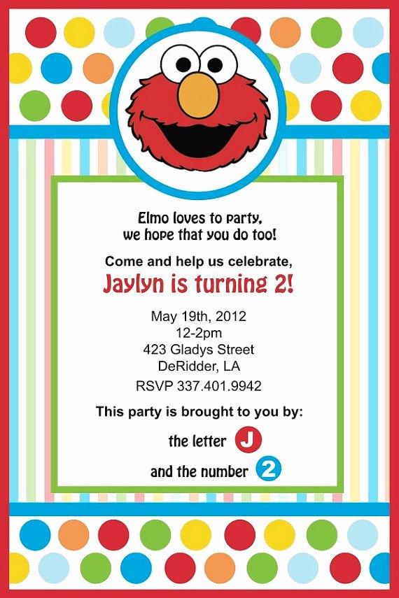 Elmo Birthday Invitation Templates Free Fresh Elmo Birthday Invitation by Yellowdeskdesigns On Etsy $15