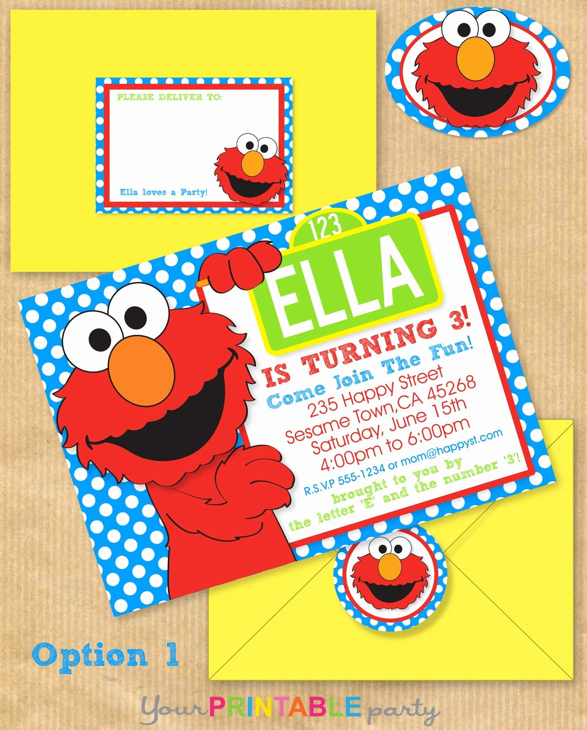 Elmo Birthday Invitation Templates Free Fresh Elmo Party Invitation 5x7 with Address by Yourprintableparty
