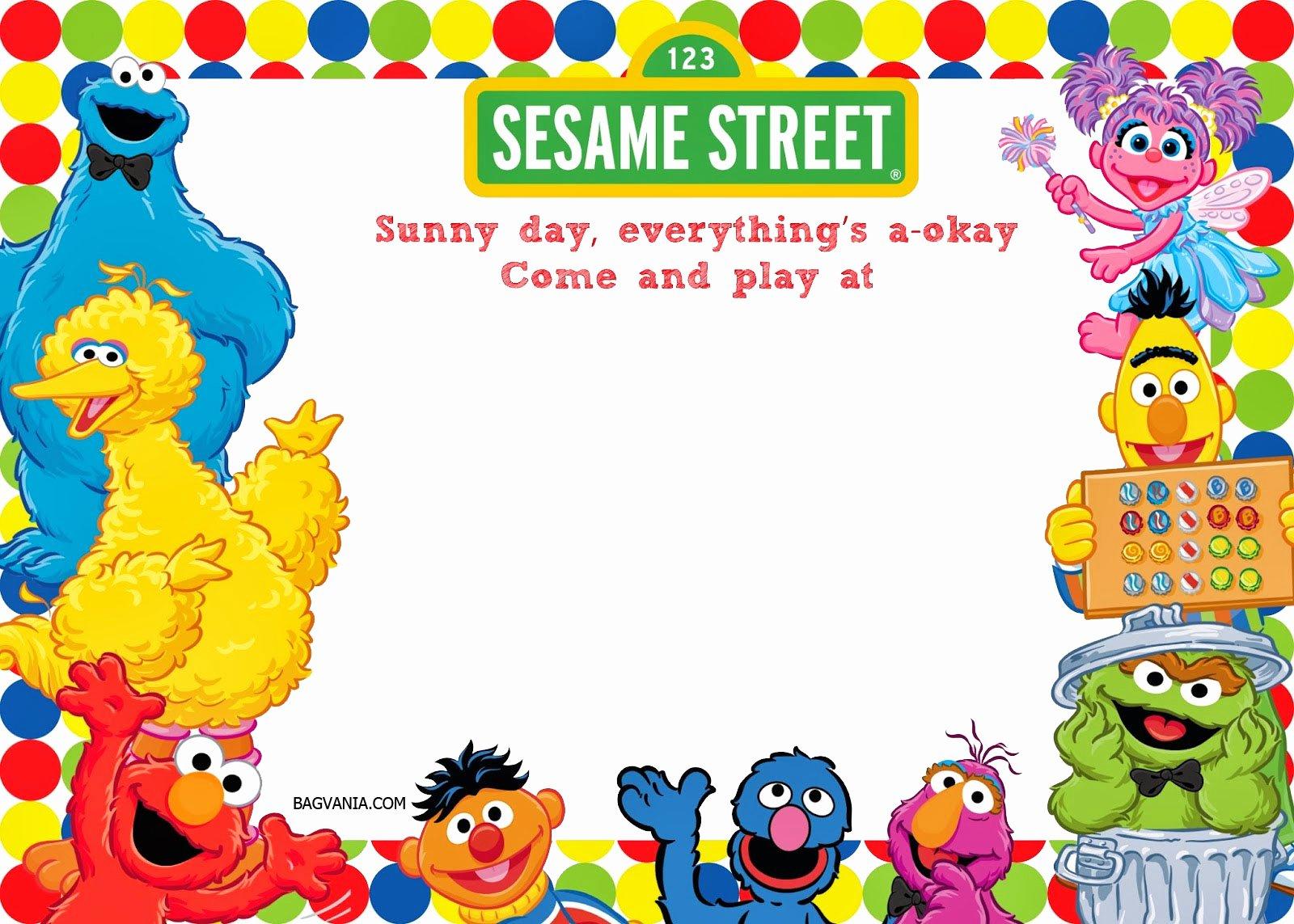Elmo Birthday Invitation Templates Free Fresh Free Printable Sesame Street 1st Birthday Invitations