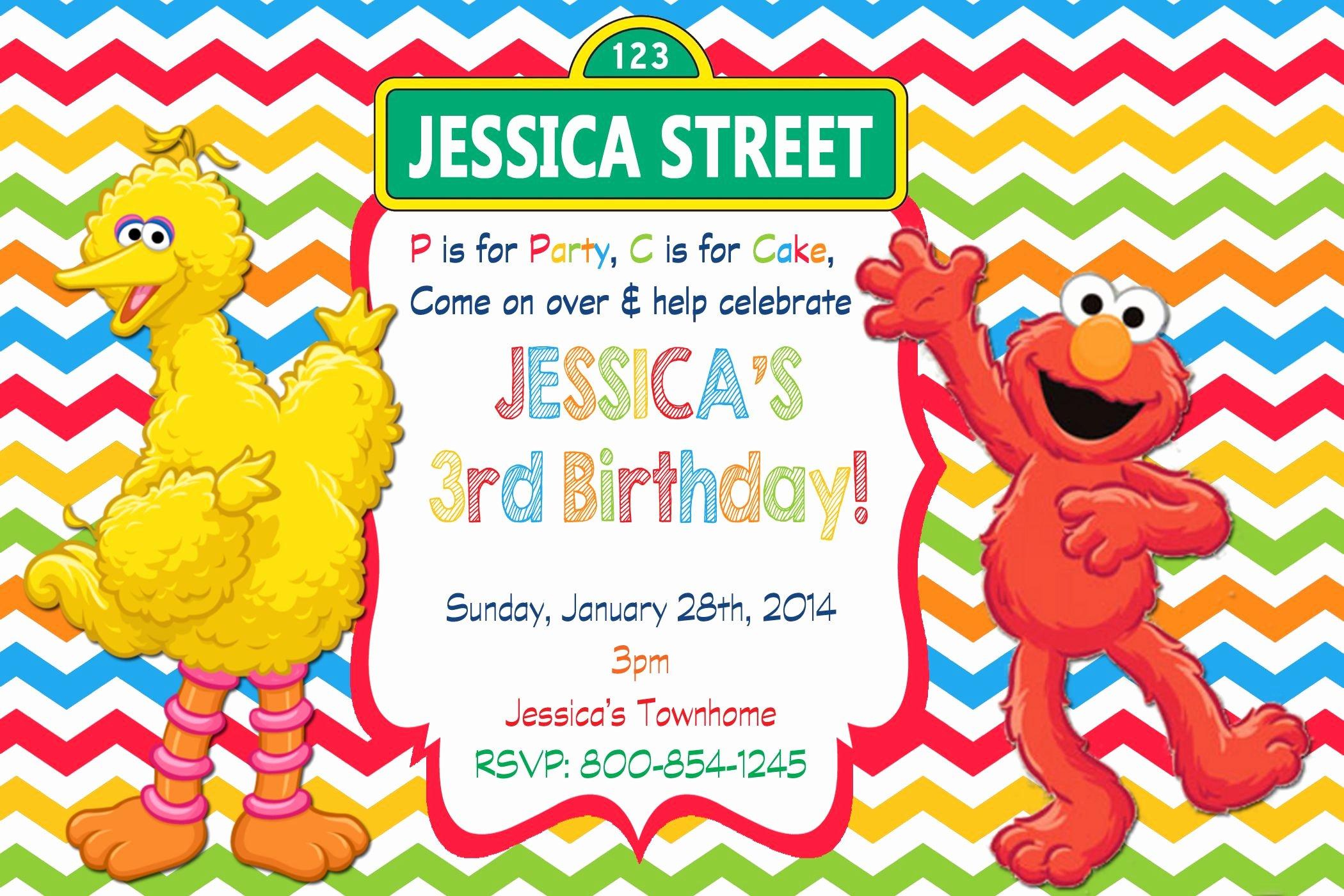 Elmo Birthday Invitation Templates Free Inspirational Sesame Street Birthday Invitation $8 99