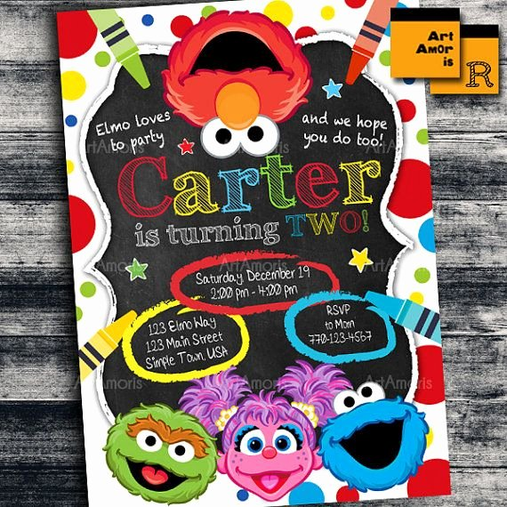 Elmo Birthday Invitation Templates Free Unique Elmo Invitation Elmo Birthday Invitation Art Party
