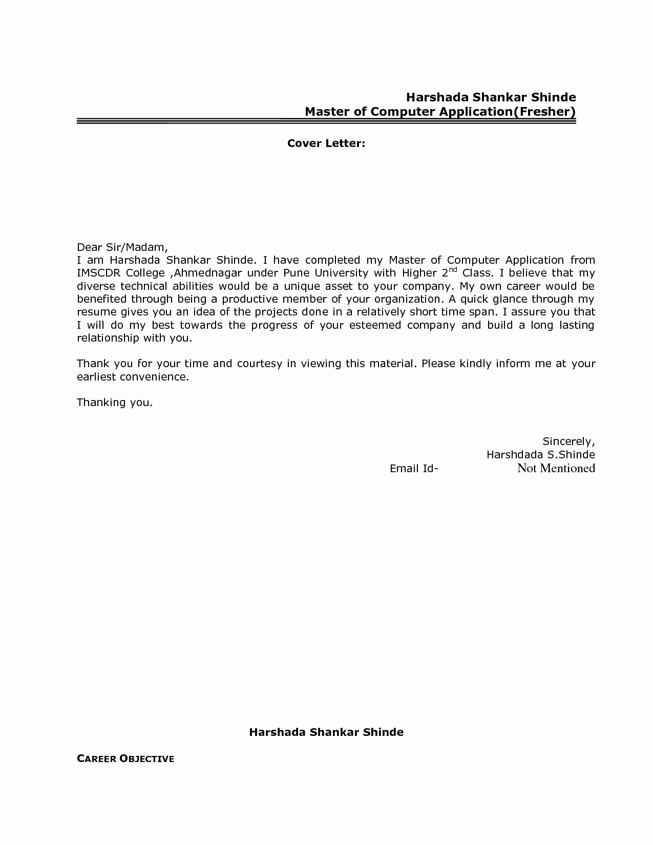 Email Cover Letter for Resume Elegant Best Resume Cover Letter format for Freshers Govt Jobcover