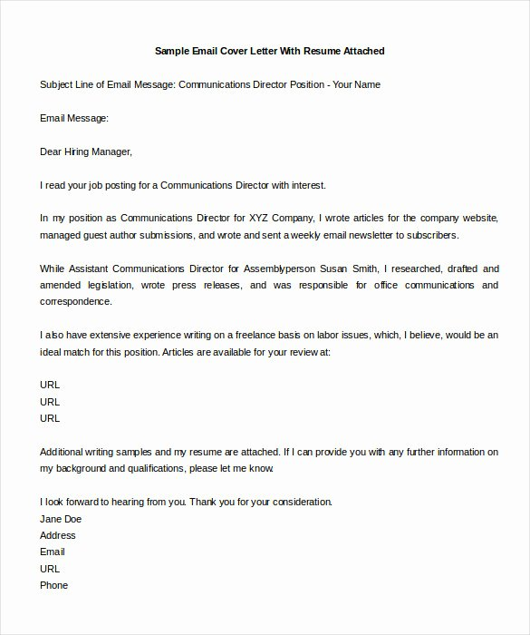 Email Cover Letter for Resume Inspirational Sample Cover Letter for Resume Via Email Sample Email
