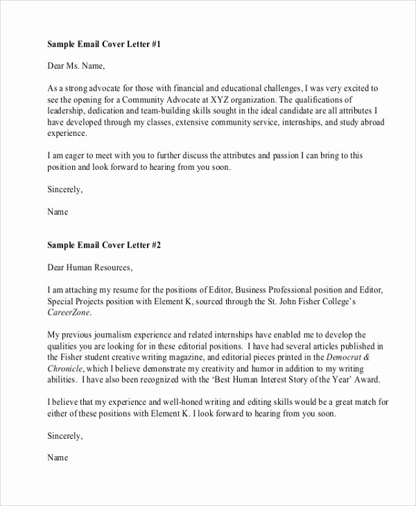 Email Resume Cover Letter Unique Sample Resume Cover Letter format 6 Documents In Pdf Word