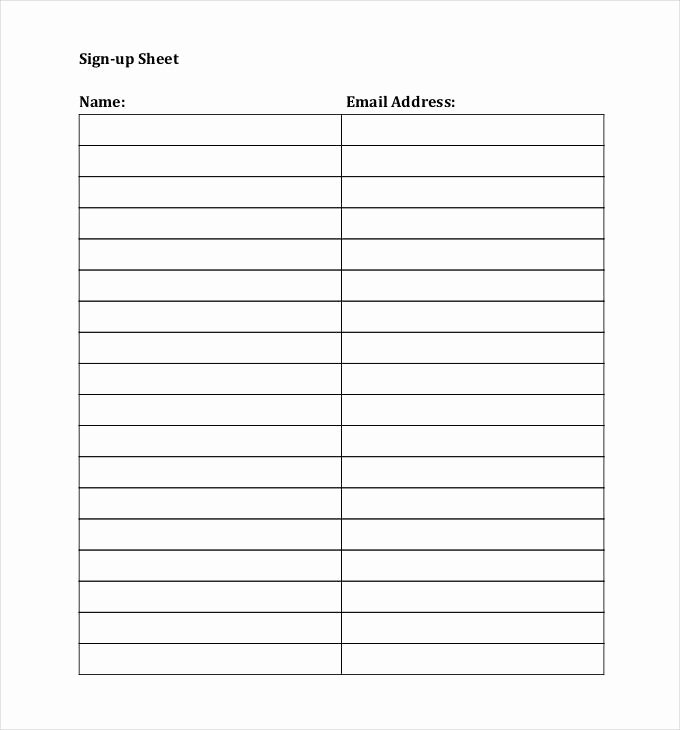 Email Sign In Sheet Lovely Email Signup Sheet Template