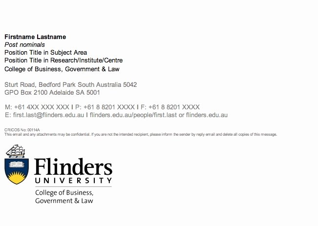 Email Signature for College Graduate Beautiful Guidelines Flinders University