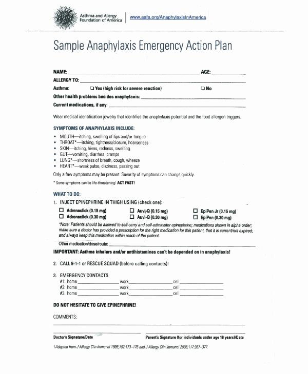 Emergency Action Plan Sample Elegant 14 Allergy Action Plan Templates Pdf