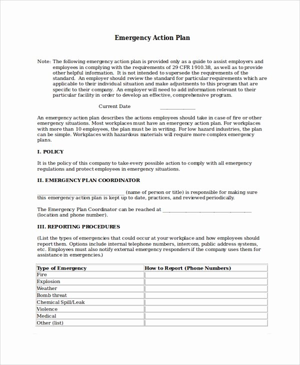 Emergency Action Plan Sample Elegant 8 Emergency Action Plan Samples Examples & Templates
