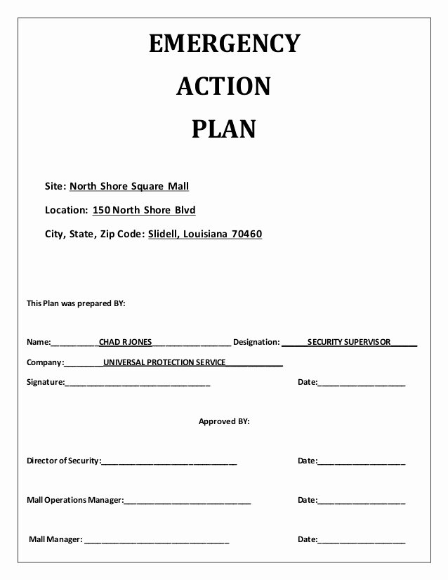 Emergency Action Plan Sample Elegant Emergency Action Plan